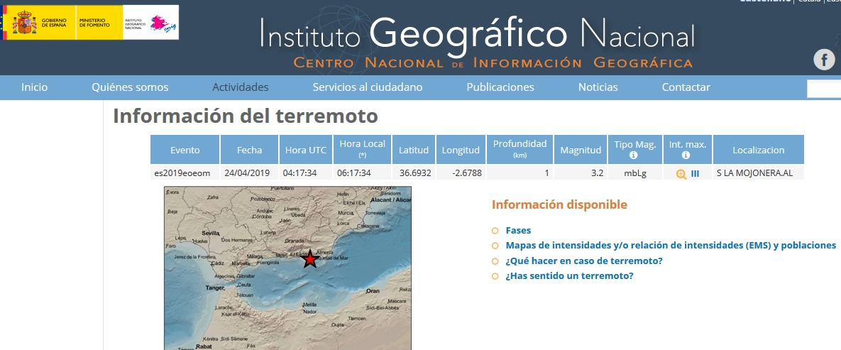 Earthquake - La Mojonera  -24 Apr 19