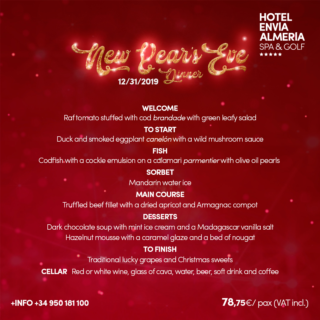 New Years Eve Gala Dinner Menu at Hotel Envia Almeria Spa Golf