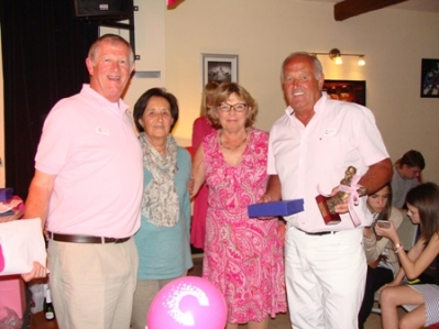 Pink charity golf prize giving